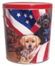 Dogs with Flag Create Your Own Custom Gourmet Popcorn Tin with your Logo or Photo
